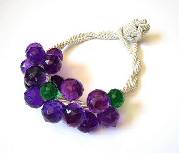 Plastic Grapes Bubbles Rope Handmade Statement Necklace