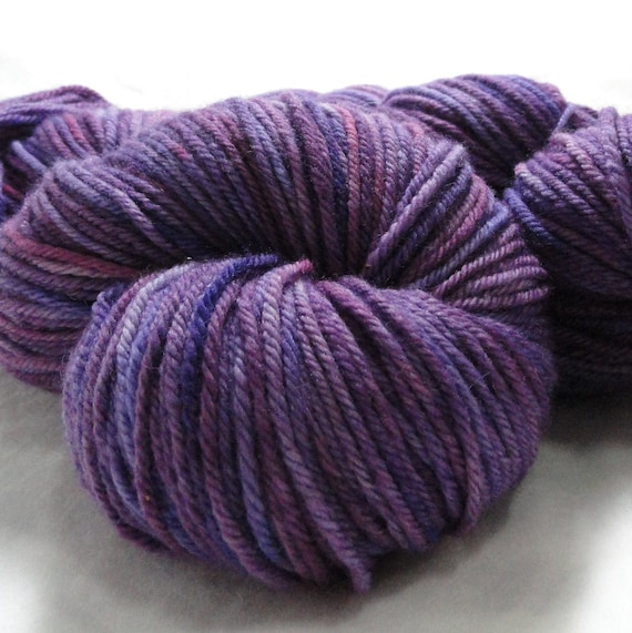"Hand Dyed Yarn, Organic Merino, Worsted Weight, Gaia Organic, 4oz, ""Amethyst"""