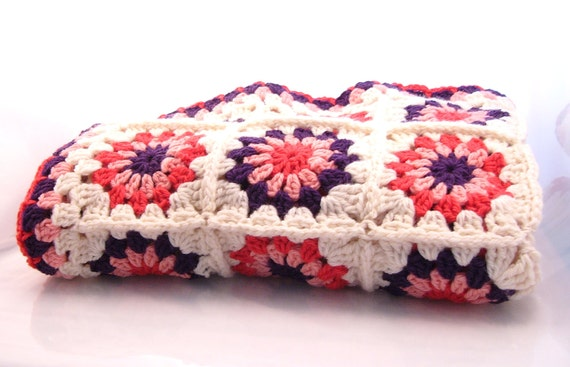 Crochet Flower Granny Square Baby Blanket in Lambswool