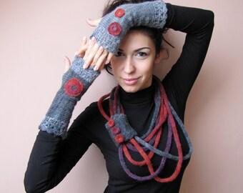 Loop Scarf Necklace, Infinity Knit Warmer, Circle Knit Scarf, Chain Knit Necklace, Chunky Knit Necklace, Knit Bracelet, Gray Red Wrap Cowl