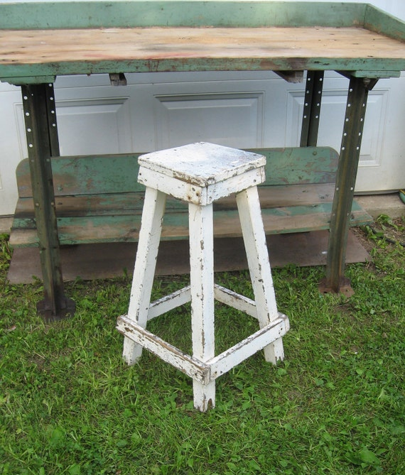 Primitive Stool Wood Shabby White Paint