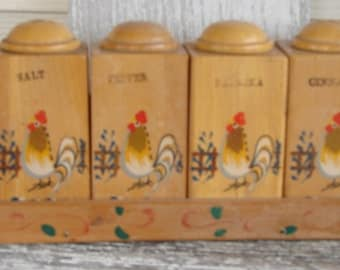Wooden Spice rack with Roosters