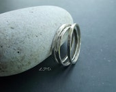 Petite Organic Sterling Silver Band Rings. Set of Three. Size 7.
