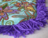 Catnip Crinkle Mat Toy Bed Flowery Print with  Fringe        for cats and ferrets Recycled