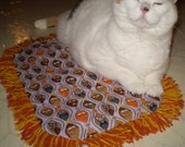 Catnip Crinkle Mat Toy Bed Cat Faces Print with  Fringe        for cats and ferrets Recycled