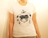 GRAND WAZOO - Captain Pug- Handmade Silk Screen Shirt