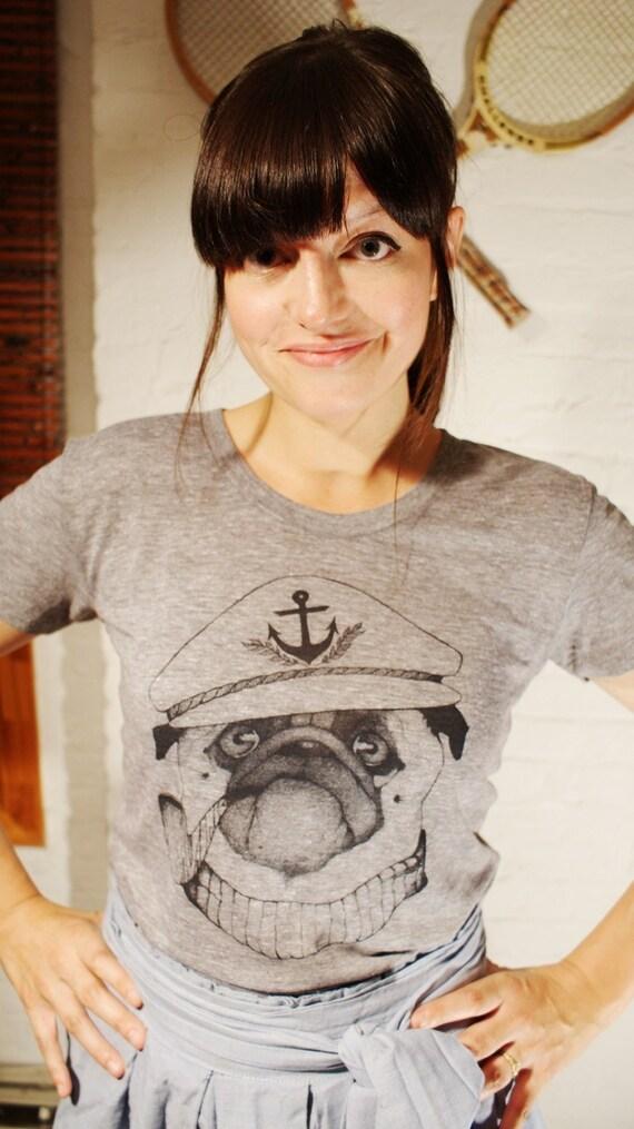 GRAND WAZOO - Captain Pug- Handmade Silk Screen Shirt