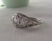RESERVED. Deco Engagement Ring. Old European Diamond. Filigree. White Gold.