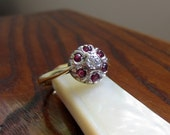 Antique Engagement Ring. Diamond and Ruby. Halo Ring. Addy on Etsy.