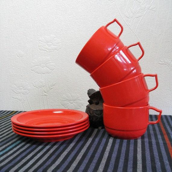 SALE. Vintage Rosti Set of Cups. Saucers.  Set of 4.