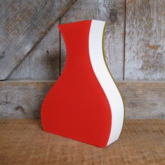 Vintage Bright Yellow and Red Curvy Vase.