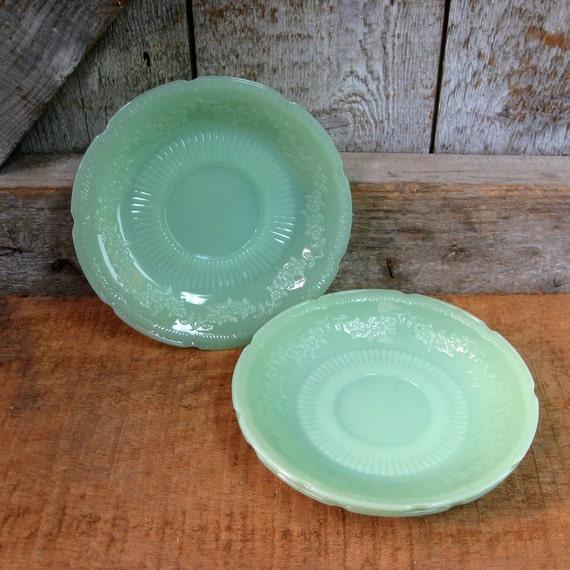 SALE. Vintage Fire King. Alice Jadite Saucers. Set of 3. Addy on Etsy.
