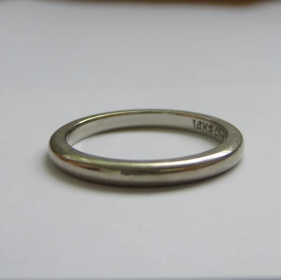 Vintage ArtCarved White Gold Wedding Band Addy On Etsy