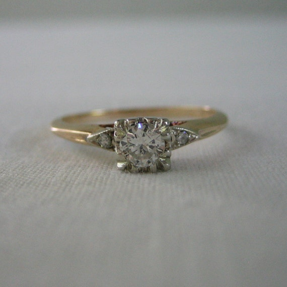 1940s Diamond Engagement Ring. Old European Cut Diamond. Addy on Etsy.