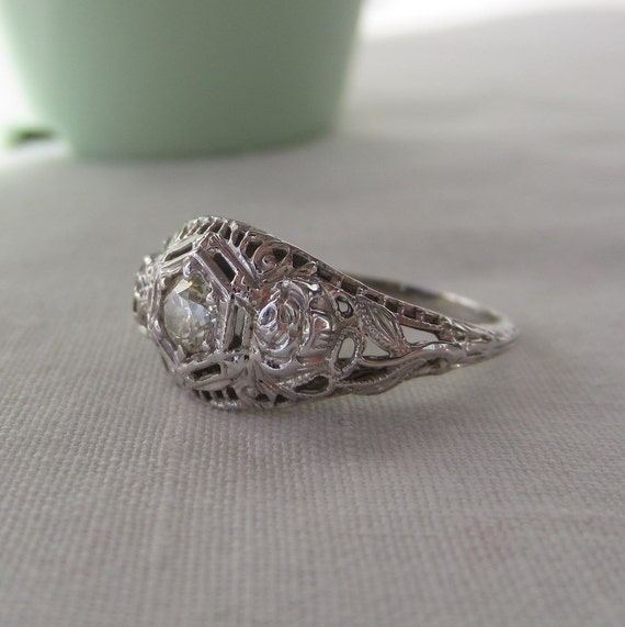RESERVED. Deco Engagement Ring. Old European Diamond. Filigree. White Gold.