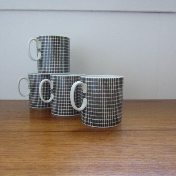 Mid Century Mugs. Thomas Germany. Onyx Grey. Set of 4. Addy on Etsy.