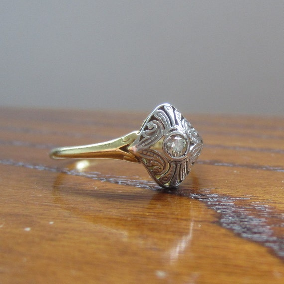 RESERVED. Art Deco Diamond Ring. Gold and Platinum. Domed Filigree Design.
