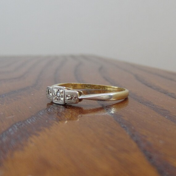 RESERVED. Vintage 3 Stone Diamond Ring. Gold and Platinum. Domed Filigree Design.