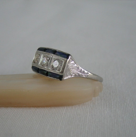 Diamond and Sapphire Engagement Ring. Art Deco Era. Filigree. Addy on Etsy.