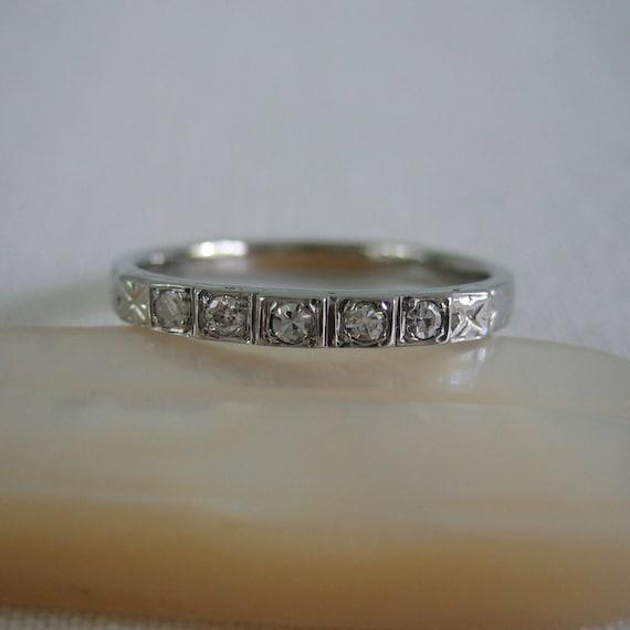 1930s Diamond Wedding Band. Pretty Diamond Ring. Addy on Etsy.