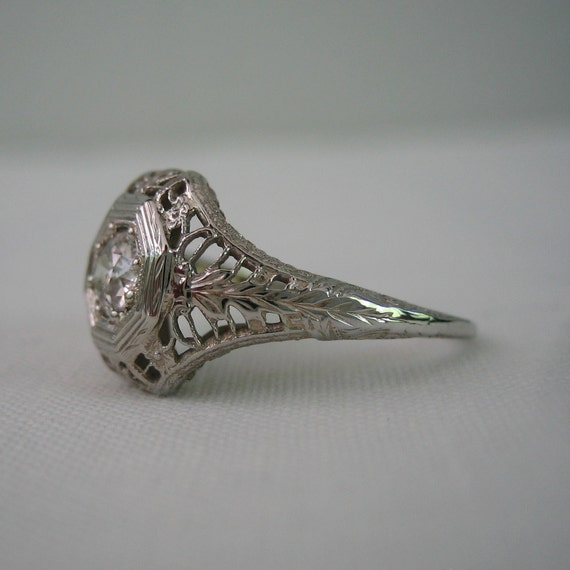 RESERVED. Filigree Diamond Engagement Ring. European Cut Diamond. White Gold. Addy on Etsy.
