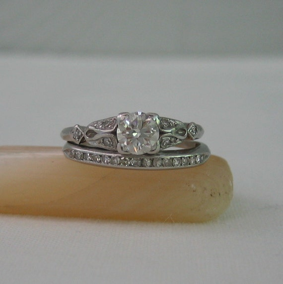 Vintage Diamond Engagement Ring and Wedding Band Set Platinum