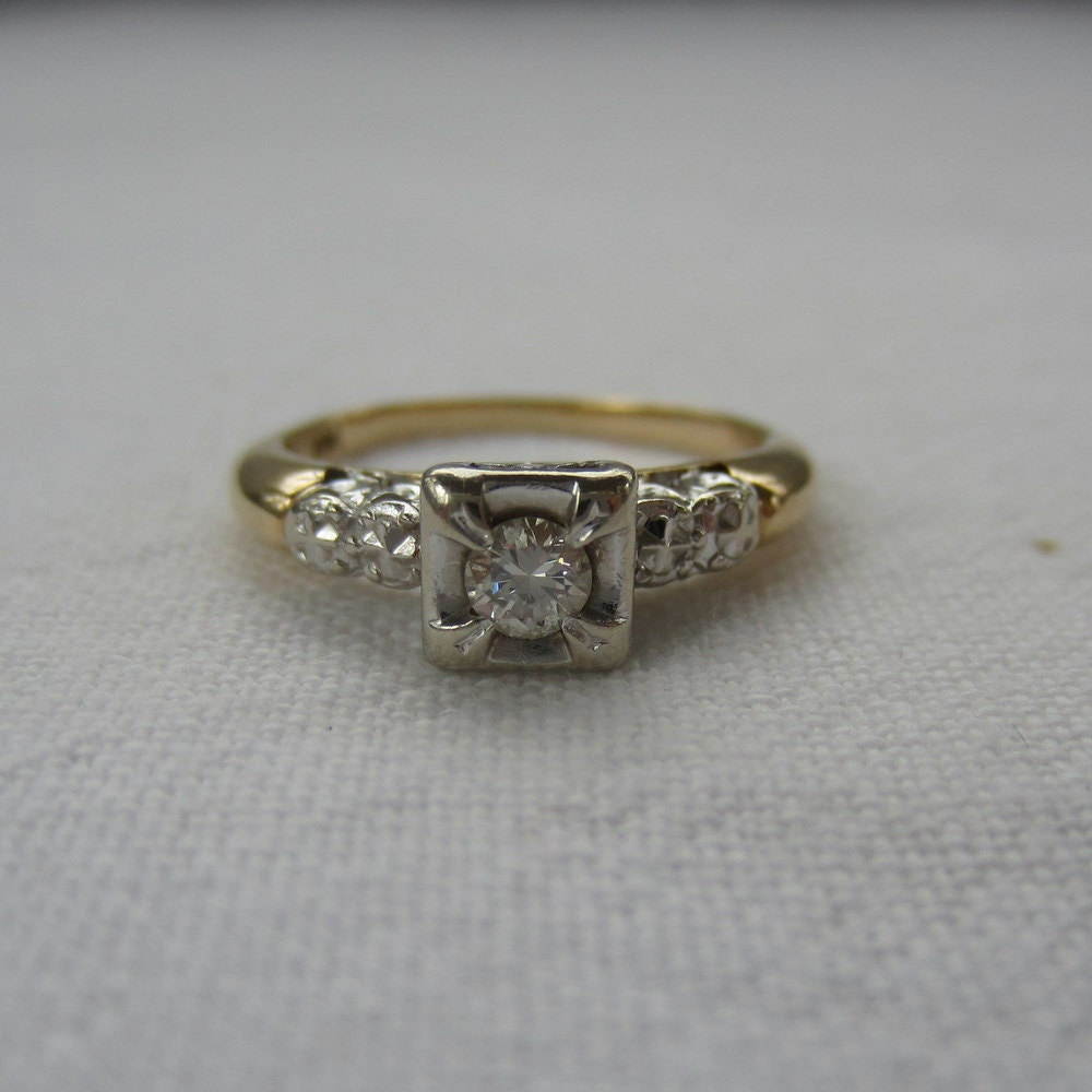 reserved 1940s engagement ring illusion set