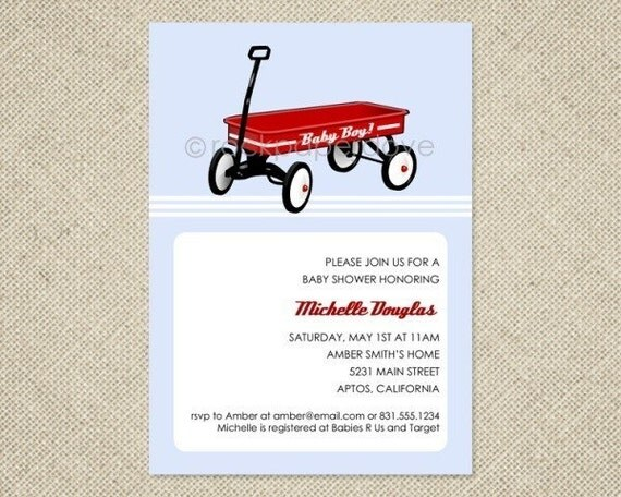 Red Wagon Invitations