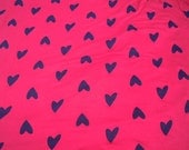 Knit fabric, jersey stretch, hearts print, stretch clothing, household, sewing, crafting