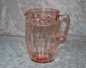 Pink Depression Glass Pitcher, Large, Antique, Perfect