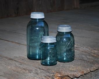 Three Blue Perfect Mason Ball Canning Jars