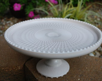 Antique Jeannette Shell Pink Milk Glass Cake Stand, Perfect/Excellent
