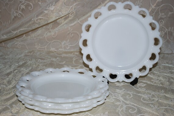 Set of Twelve Vintage FireKing and Hazel Atlas Lace Edged Luncheon Plates reserved for Kay