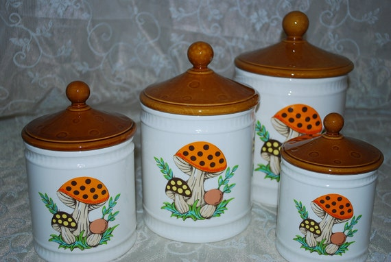 Items Similar To Sears Merry Mushroom Cannister Set 1982