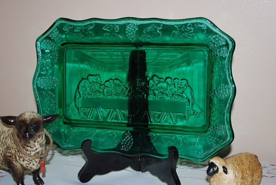 Vintage Indiana Glass Turquoise/Blue/Green Breadplate with Last Supper Motif