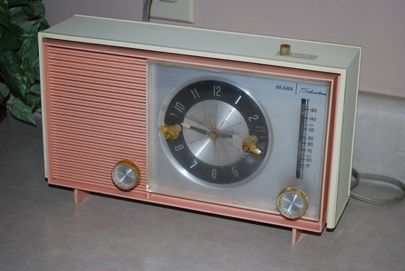 Vintage Pink and Cream Sears Silvertone Clock Radio, Vintage Antlers, and Set of Milk Glass RESERVED for MYRA