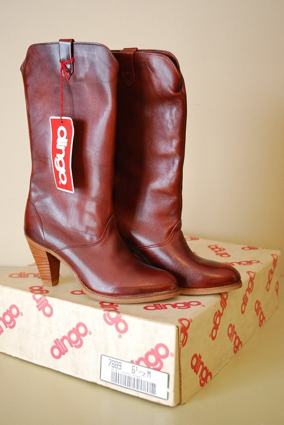 Vintage New in Box Black Cherry Dingo Leather Cowgirl Boots, Never Been Worn, Size 6 1/2 Medium