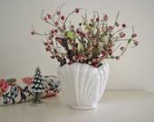 Vintage pottery, white Abingdon garden pot , shell design