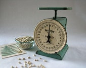 Way rite scale, vintage counter scale, farmhouse green