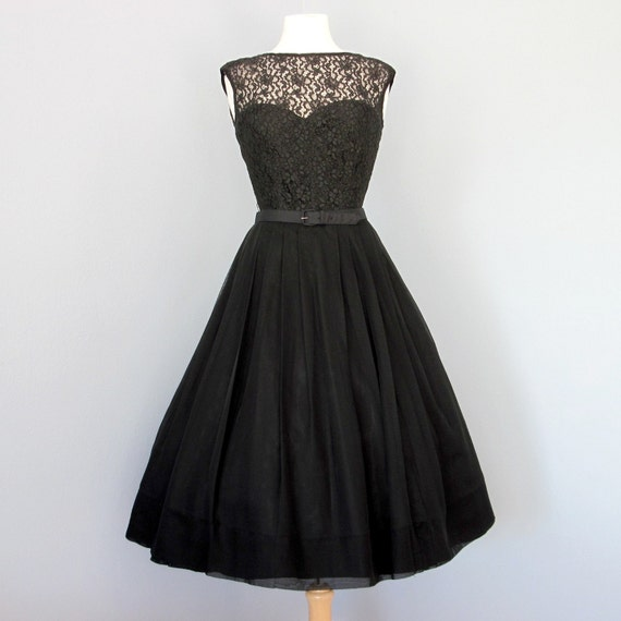 Vintage 1950s Classic Little Black Lace And Chiffon By Deomas