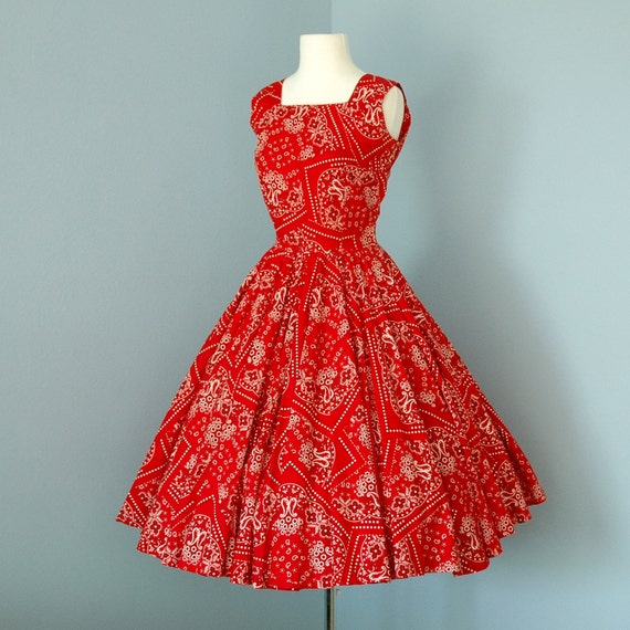 1950s Cotton Dress...Scarlet Red Cotton Bandana Fabric Dixie Deb Day Dress