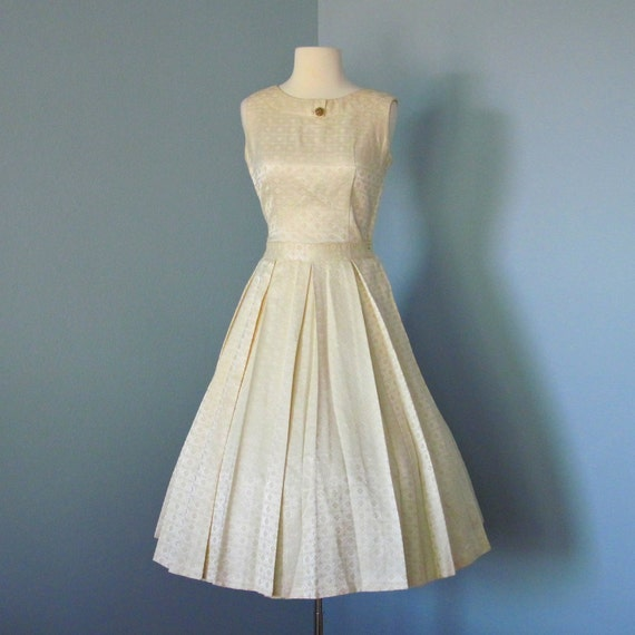 1960s Ivory Brocade Party Dress...Beautiful 1950s By Deomas