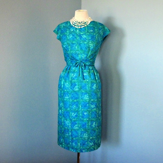 Vintage Turquoise Cotton Day Dress...Brilliant Turquoise and Green 1960s Mort Schrader Cotton Day Dress Cocktail Dress Wiggle Dress