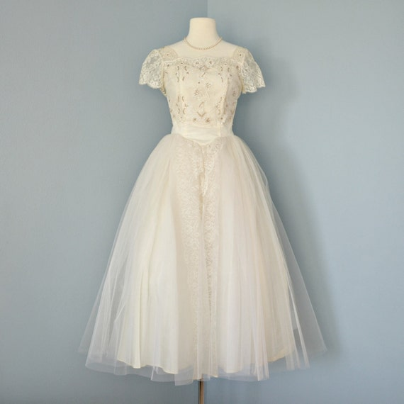 Vintage Tea Length Wedding Dress...Beautiful 1950's Ivory Tulle and Lace Wedding Dress