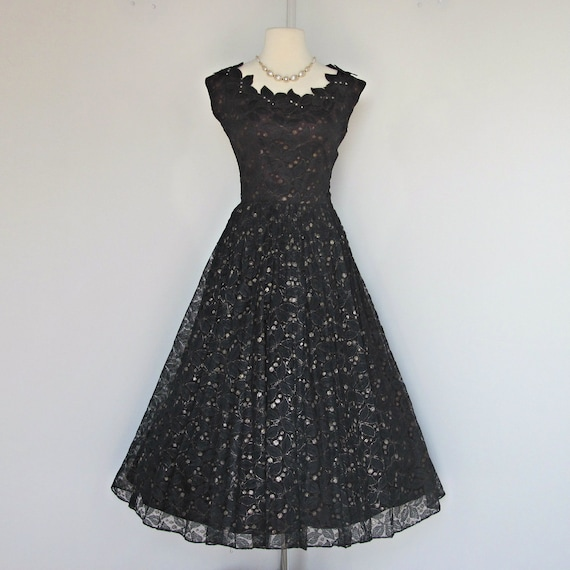 Vintage Party Dress...Beautiful 1950's Daryl Black Lace Party Dress Bridesmaid Dress Small