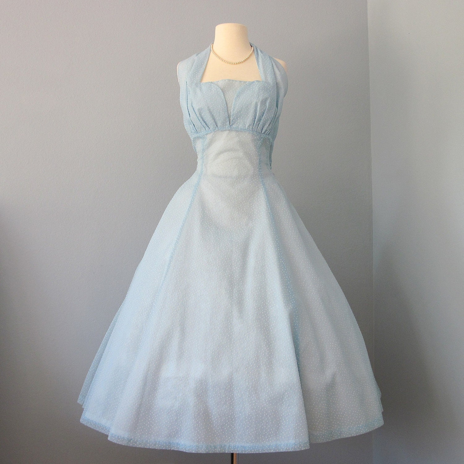Vintage 1950s Pale Blue Dotted Swiss Organza Halter by deomas