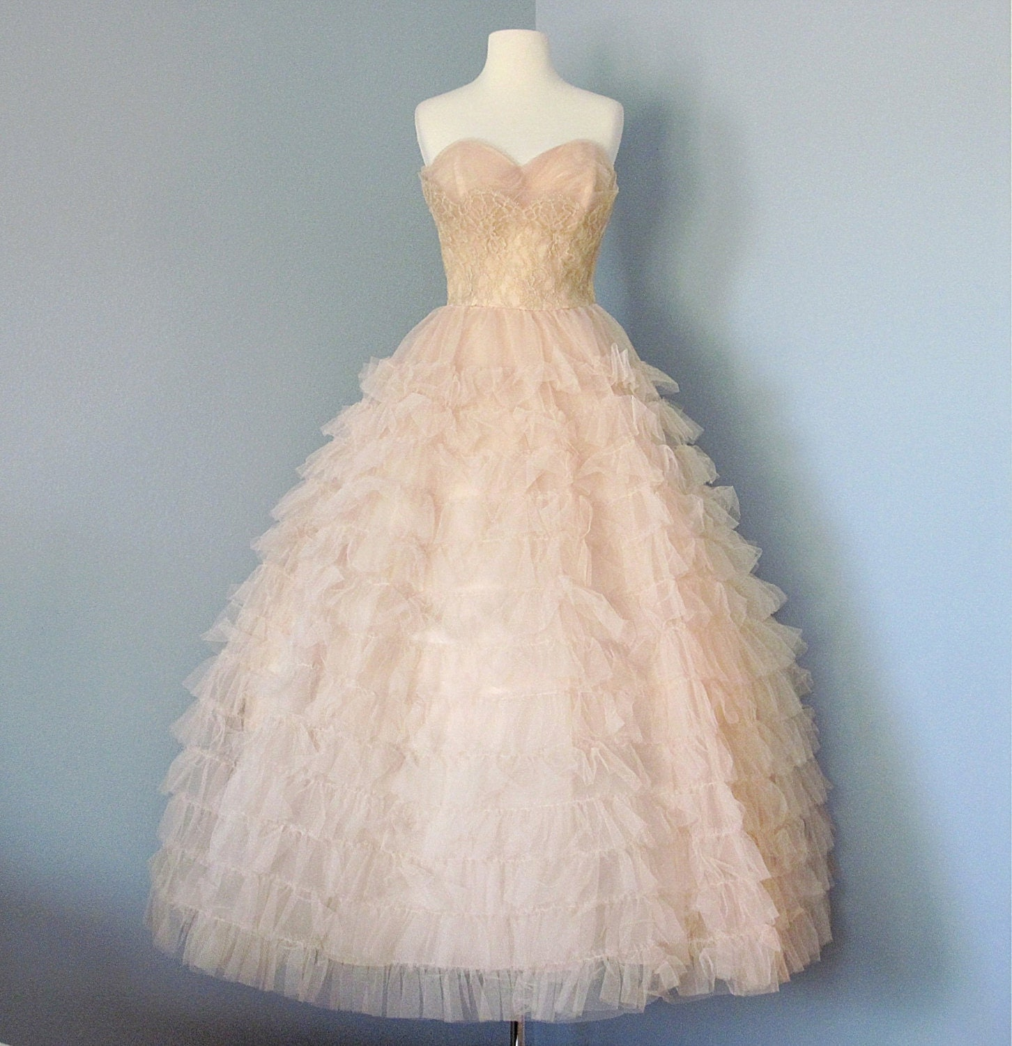 1950s prom dressmint condition pale pink tulle will