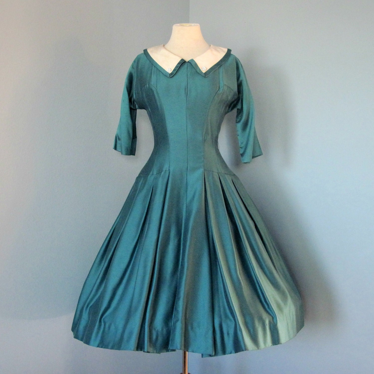 vintage teal day dress beautiful 1950s teal gabardine day