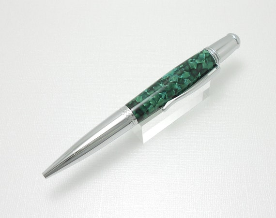 Handmade Pen with Dark Green Invisavue Acrylic  -  Wall street II Style In Chrome