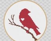 Bird on Branch Silhouette Cross Stitch PDF Pattern